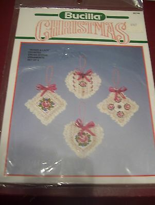 bucilla counted cross stitch craft kit 4 christmas ornaments roses & lace new