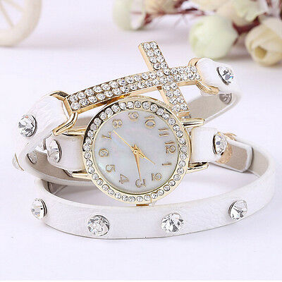Fashion White Cute Womens Ladies Girls Quartz Bracelet Leather Wrist Watch Gifts