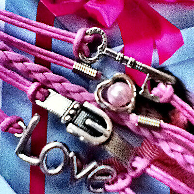 Infinity Heart Pearl Love Key Buckle Leather Charm Bracelet Plated Silver Hot