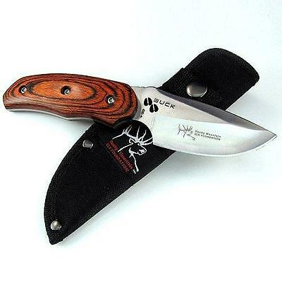 Buck New Survival Outdoor Tool  a Wood Handle Fixed Blade Knife t K076