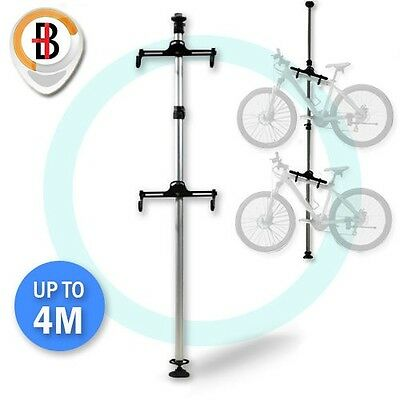 Heavy Duty Aluminum Alloy 2 Bike Bicycle Hanger Parking Rack Storage Stand To 4M