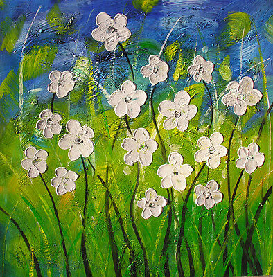 ORIGINAL OIL PAINTING ART COLORFUL TEXTURED ABSTRACT WHITE DAISY BLUE GRASS GREE