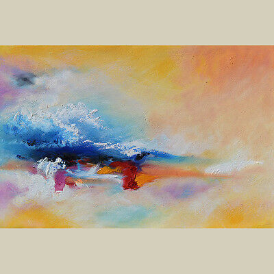 ORIGINAL OIL PAINTING COLORFUL ART Orange Blue White Red Abstract  Modern Big