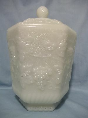 Cookie Jar Anchor Hocking Fire King Milk Glass Grape Paneled VINTAGE