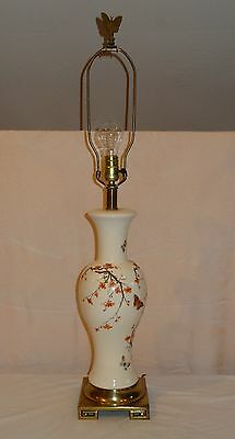 VTG Butterfly Porcelain Table Lamp hand painted Frederick Cooper Cherry Blossoms