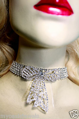 Rhinestone Choker Bow Tie Necklace  Austrian Crystal Earring Set Pageant Prom