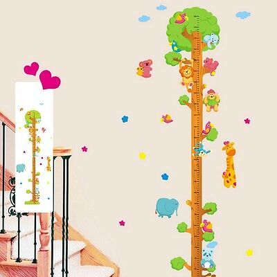Home Wall DIY Vinyl Decor Sticker Removable Kid Animal Tree Height Chart Measure
