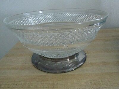 Large Vintage Diamond Crystal Bowl with  a Silver base