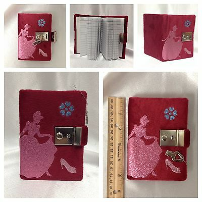 Disney Inspired Cinderella Plush Red Diary With Lock and Key