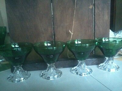 Set of 4 ANCHOR HOCKING BURPLE BUBBLE FOOTED CRYSTAL DESSERT DISHES. MARTINI