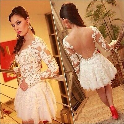 New Fashion Women Sexy See-Through Back Lace Evening Night Club Party Mini Dress