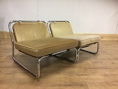 Stylish Vintage Industrial Retro chrome lounge chairs Damaged.