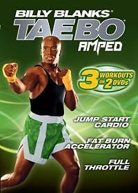 Billy Blanks Tae Bo Cardio Kickboxing EXERCISE DVD - AMPED - 3 Workouts!