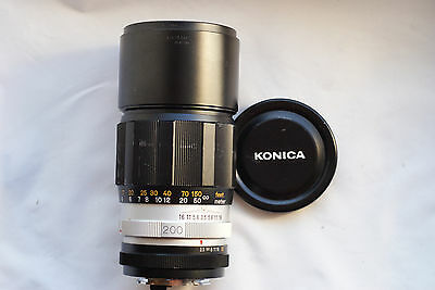KONICA HEXANON AR 200mm f3.5 Telephoto Lens  WORLD SHIP JAPAN  EXCELLENT