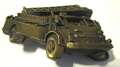 1978 BERGAMONT BRASS WORK PEWTER FIRE TRUCK BELT BUCKLE