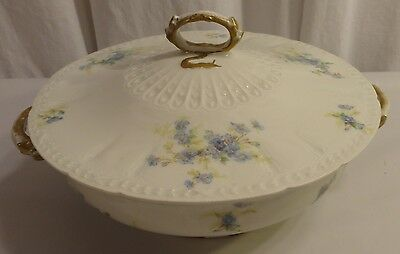 Limoge Covered Casserole, Serving Dish, Lid, Blue Flowers, Late 1800, FREE SHIPG