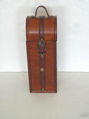 Wooden Single Bottle Wine Carying Case Leather Buckle Strap
