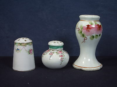 Powder Talc Shaker Hat Pin Holder Vintage Vanity Lot of 3 Hand Painted Nippon