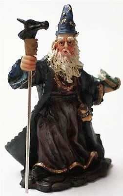 """COLLECTIBLE SMALL WIZARD FIGURES STATUES WITH STAFF AND MAGIC BOOK 4"""" TALL 71154"""