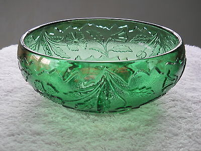 GREEN DELAWARE GLASS FLORAL DECORATED BOWL
