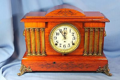 SETH THOMAS ANTIQUE VERY RARE ADAMANTINE MANTLE CLOCK w/24 HOUR AUTOMATIC ALARM!