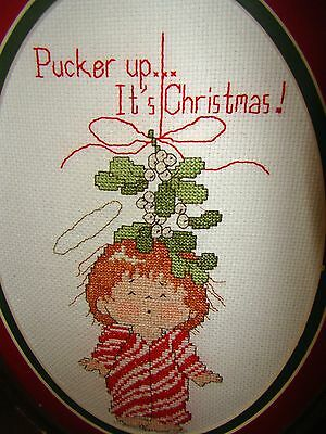 "Christmas Counted Cross Stitch Complete & Framed ""Pucker up-It's Christmas"""