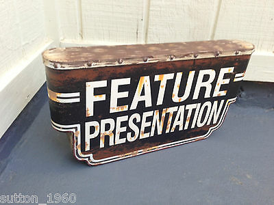Feature Presentation Metal Sign Home Theater Cinema System Popcorn Stand Media