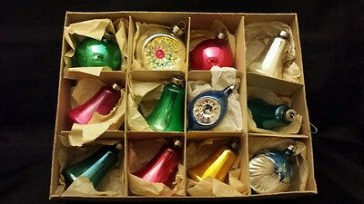 VTG XMAS Ornaments Lot of 12 Glass Stencil  Indents Bell  Shiny Brites #2