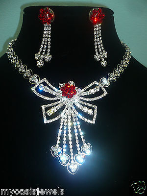 Rhinestone Choker Necklace Earring Set Austrian Crystal Pageant Prom Bridal Red