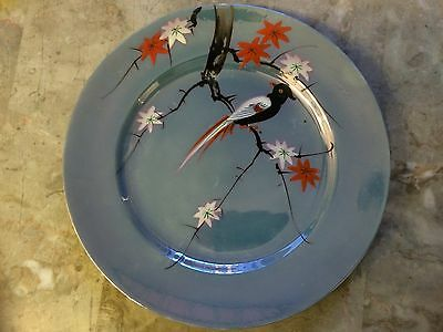 Rare Vintage Black Bird Hand Painted Blue Lusterware plate, Japan 6 Available