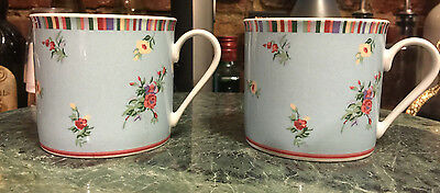 "Set Of 2 LAURA ASHLEY ""KALEIDOSCOPE"" Flat Coffee Tea Mug Cup Vintage 2003 MINT"