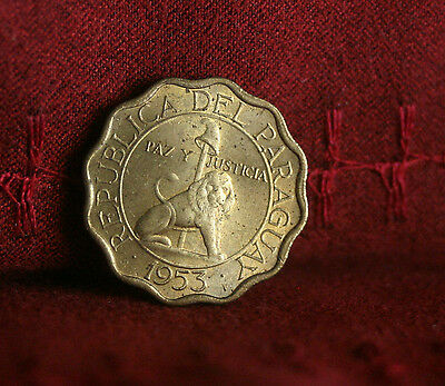 Paraguay 15 Centimos 1953 Unc World Coin KM26 Lion with Liberty Cap uncirculated
