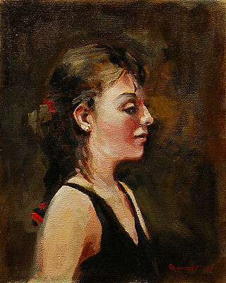 Signed Original Oil Painting on Cotton Canvas Board: Portrait of a Young Woman
