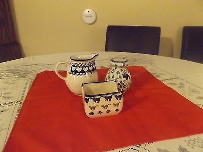 Polish Pottery Combo: Sugar Packet Holder, Creamer and Cheese Shaker