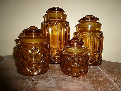 Vintage L.E. Smith, Moon and Stars Amber Glass 4 piece Canister Set.