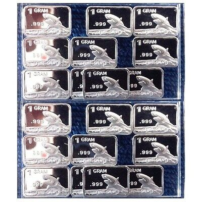 Lot of 20 X 1 Gram  .999  Fine Silver Bar / Shark  YEWP887