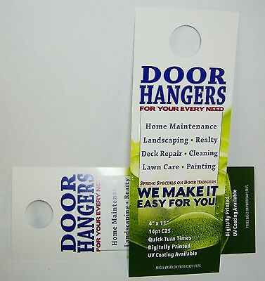 "Custom Printed Door Hangers 1,000 Full Color 4.25"" x 11"" Business Advertising"