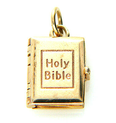 Rare Vintage Hallmarked 9ct Solid Gold Holy Bible 5 Gold Page Lords Prayer Charm