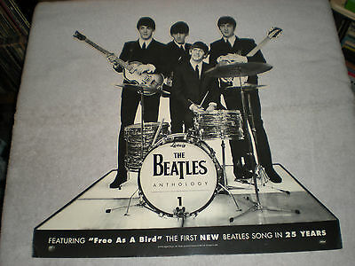 rare 1995 BEATLES (anthology 1) cardboard cut out  promo (awesome cond)