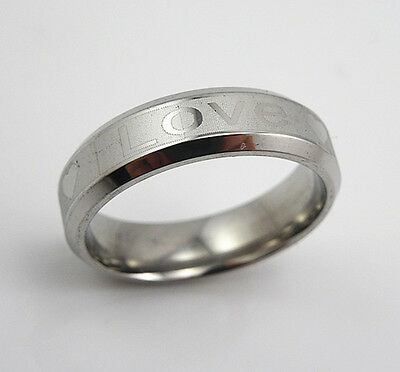 """316 L Stainless Steel  Men's  Womens """"LOVE"""" Heart Pattern 6mm Band Ring Size 10"""