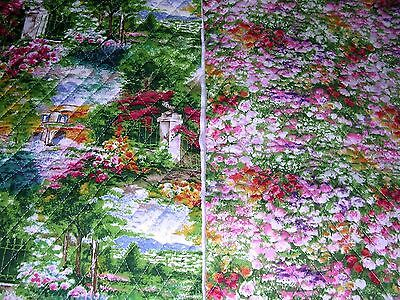 278M MONET'S COUNTRYSIDE Double Sided PRE-QUILTED Fabric FLORAL Fabri-Quilt .5+Y