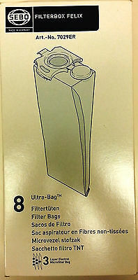8 Vacuum Bags, GENUINE SEBO Filterbox Felix ULTRA Cloth. Part 7029ER