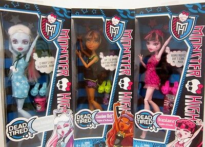 Monster High 3 Dolls Abbey Bominable/Clawdeen Wolf/Draculaura  New in Box