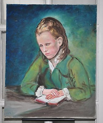 Vintage Oil on Canvas Portrait of a Young Girl Reading