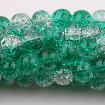 50PCS Green Czech Glass Crackle Loose Spacer Craft Beads 6MM