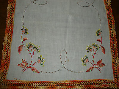 Vintage Linen Runner with Orange Crochet Edge and Embroidered Flowers
