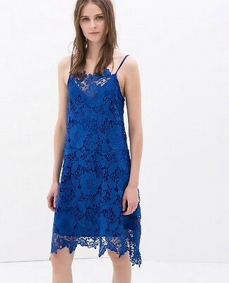 NWT Zara Crochet Cobalt Blue Dress Lace Size XS 0 Alice Bloggers Olivia Sold Out