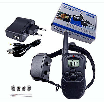 Rechargeable Waterproof 300M LCD 100LV Shock Vibra Remote Dog Training Collar