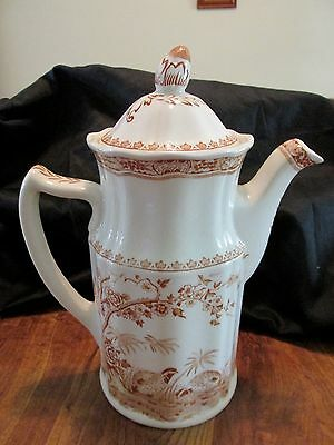 Furnivals QUAIL Brown 4 CUP COFFEE POT #684771 English China Flower Finial