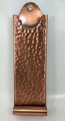 Arts & Crafts Hand Hammered Solid Copper Long Match Holder Box Gregorian Wrought